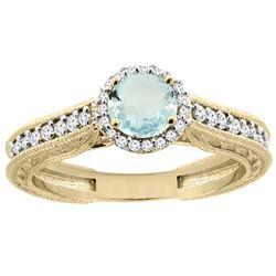 0.99 CTW Aquamarine & Diamond Ring 14K Yellow Gold - REF-59N3Y