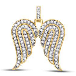 1 CTW Mens Round Diamond Angel Wings Charm Pendant 10kt Yellow Gold - REF-68Y2N