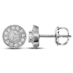 1/3 CTW Womens Round Diamond Halo Earrings 14kt White Gold - REF-38W2H
