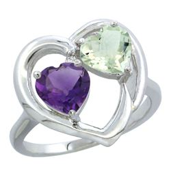 2.60 CTW Amethyst Ring 10K White Gold - REF-23N7Y