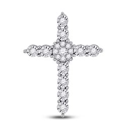 1/4 CTW Womens Round Diamond Religious Cross Pendant 14kt White Gold - REF-34A3M