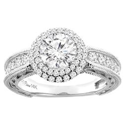 1.24 CTW Diamond Ring 14K White Gold - REF-278V2R