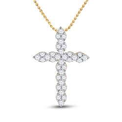 1/2 CTW Womens Round Diamond Cross Pendant 14kt Yellow Gold - REF-36M7F