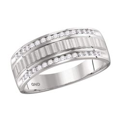 1/3 CTW Mens Round Channel-set Diamond Textured Wedding Band Ring 14kt White Gold - REF-68F2W
