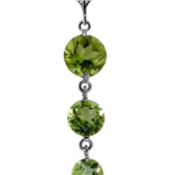Genuine 3.9 ctw Peridot Necklace 14KT White Gold - REF-23W5Y