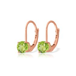Genuine 1.20 ctw Peridot Earrings 14KT Rose Gold - REF-23R2P