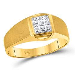 0.03 CTW Mens Round Diamond Brushed Cluster Ring 10kt Yellow Gold - REF-26W5H