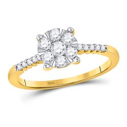1/2 CTW Womens Round Diamond Flower Cluster Ring 10kt Yellow Gold - REF-42W8H
