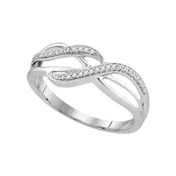 1/10 CTW Womens Round Diamond Band Ring 10kt White Gold - REF-12M2F