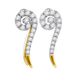 1/4 CTW Womens Round Diamond Curled Stud Earrings 10kt Yellow Gold - REF-21F8W