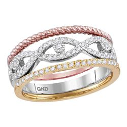 1/3 CTW Womens Round Diamond Stackable Rope Band Ring 10kt Tri-Tone Gold - REF-34M3F