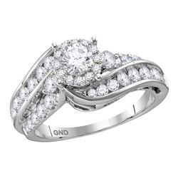 1 & 1/2 CTW Round Diamond Solitaire Bridal Wedding Engagement Ring 14kt White Gold - REF-192X8T