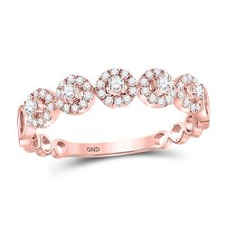 1/3 CTW Womens Round Diamond Halo Stackable Band Ring 10kt Rose Gold - REF-29R9X
