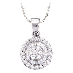 5/8 CTW Womens Round Diamond Flower Cluster Circle Pendant 14k White Gold - REF-39H5R