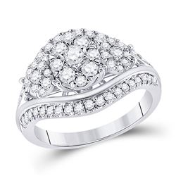 1 CTW Round Diamond Cluster Bridal Wedding Engagement Ring 10kt White Gold - REF-90W5H