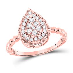 1/3 CTW Womens Round Diamond Teardrop Cluster Ring 10kt Rose Gold - REF-36M2F