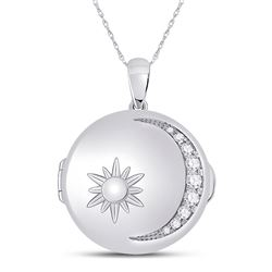 1/2 CTW Womens Round Diamond Sun Moon Locket Fashion Pendant 14kt White Gold - REF-115V8Y