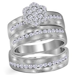 3/4 CTW His Hers Round Diamond Matching Wedding Set 14kt White Gold - REF-136W4H