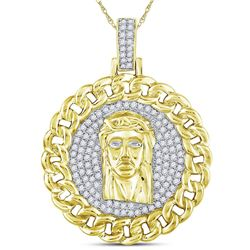 1 CTW Mens Round Diamond Cuban Link Circle Jesus Face Pendant 10kt Yellow Gold - REF-95W5H