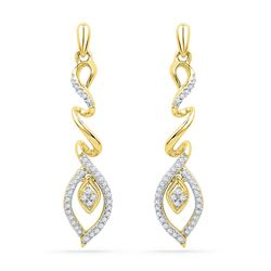 1/4 CTW Womens Round Diamond Abstract Leaf Dangle Earrings 10kt Yellow Gold - REF-24F5W
