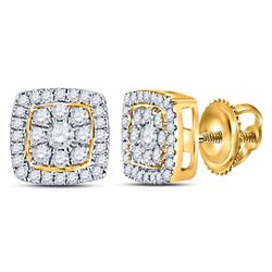 1 & 1/4 CTW Womens Round Diamond Square Cluster Earrings 14kt Yellow Gold - REF-88R5X