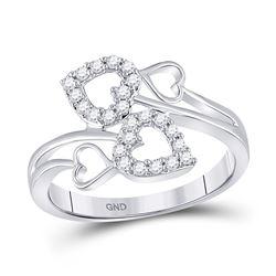 1/4 CTW Womens Round Diamond Fashion Heart Ring 10kt White Gold - REF-29H4R