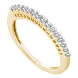 1/4 CTW Womens Round Diamond Wedding Single Row Band Ring 14kt Yellow Gold - REF-27X3T