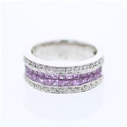 1.54 CTW Pink Sapphire & Diamond Ring 18K White Gold - REF-77M2F