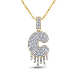 5/8 CTW Mens Round Diamond Dripping C Letter Charm Pendant 10kt Yellow Gold - REF-56T6V