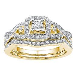 1/4 CTW Round Diamond Twist Bridal Wedding Ring 10kt Yellow Gold - REF-41T6V