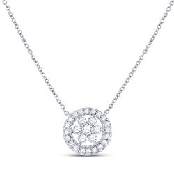 1/3 CTW Womens Round Diamond Floral Cluster Necklace 14kt White Gold - REF-37Y5N