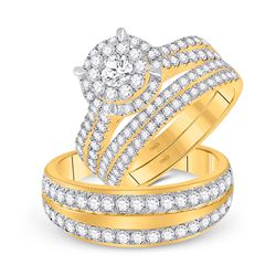 2 & 1/5 CTW His Hers Round Diamond Solitaire Matching Wedding Set 14kt Yellow Gold - REF-207Y8N