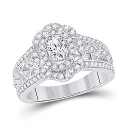 1 CTW Oval Diamond Solitaire Bridal Wedding Engagement Ring 14kt White Gold - REF-156W7H