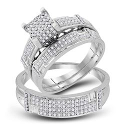 1/2 CTW His Hers Round Diamond Square Matching Wedding Set 10kt White Gold - REF-64N8A