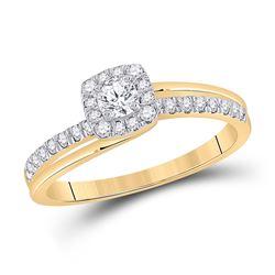 1/2 CTW Round Diamond Bridal Wedding Ring 10kt Yellow Gold - REF-51M8F
