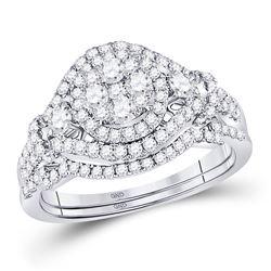 1 CTW Round Diamond Cluster Bridal Wedding Ring 14kt White Gold - REF-92H3R