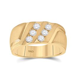 1/2 CTW Mens Round Diamond Wedding Double Row Band Ring 14kt Yellow Gold - REF-133Y2N