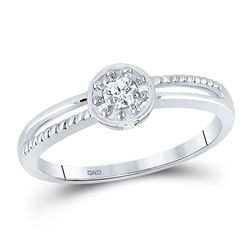 1/20 CTW Womens Round Diamond Solitaire Promise Ring 10kt White Gold - REF-13M2F