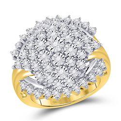3/8 CTW Womens Round Diamond Cluster Ring 10kt Yellow Gold - REF-68F2W