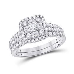 1 CTW Princess Diamond Square Bridal Wedding Ring 14kt White Gold - REF-102N3A