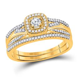 1/3 CTW Round Diamond Bridal Wedding Ring 10kt Yellow Gold - REF-42V8Y