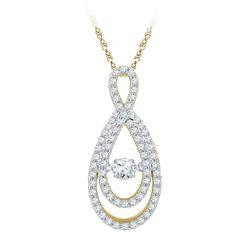 3/4 CTW Womens Round Diamond Moving Twinkle Teardrop Pendant 10kt Yellow Gold - REF-71W6H