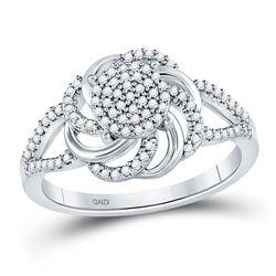 1/4 CTW Womens Round Diamond Flower Petals Cluster Ring 10kt White Gold - REF-26F5W