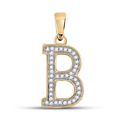 1/12 CTW Womens Round Diamond Initial B Letter Pendant 10kt Yellow Gold - REF-8H9R