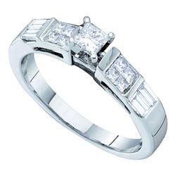 1/2 CTW Princess Diamond Solitaire Bridal Wedding Engagement Ring 14kt White Gold - REF-61X4T