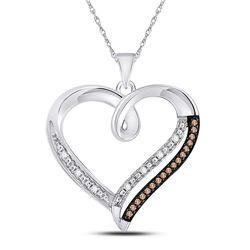 1/6 CTW Womens Round Brown Diamond Heart Pendant 10kt White Gold - REF-19R2X