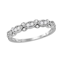 1/4 CTW Womens Round Diamond Stackable Band Ring 10kt White Gold - REF-23X3T