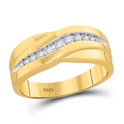 1/4 CTW Mens Round Diamond Single Row Wedding Band Ring 10kt Yellow Gold - REF-44X5T