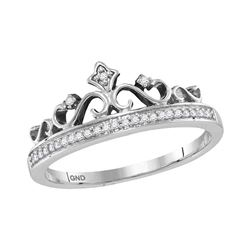 1/10 CTW Womens Round Diamond Crown Band Ring 10kt White Gold - REF-18F5W