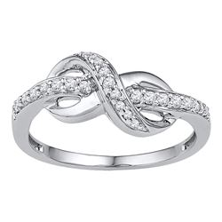 1/6 CTW Womens Round Diamond Knot Infinity Ring 10kt White Gold - REF-28W2H